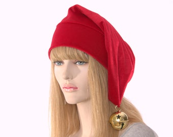Christmas Stocking Cap Red Velour with Oversize Gold Bell Elf Hat with Pointed Tip
