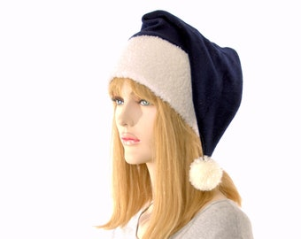 Santa Hat Navy Blue Sherpa Headband Long Stocking Cap Gothic Elf Adult Victorian Pointed Beanie
