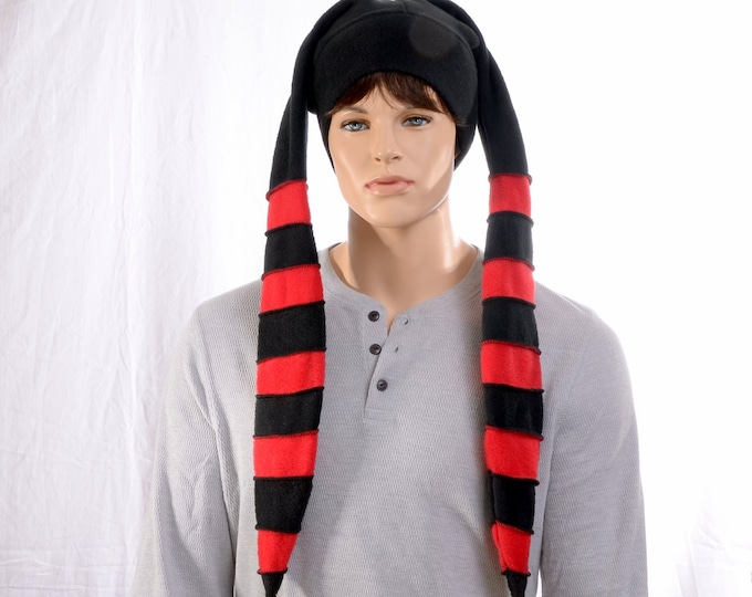 Featured listing image: Long Jester Hat Red Black Stripes Made of Fleece Three Tail Point Horns with Bells