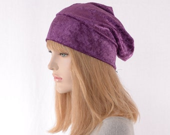 Slouchy Beanie Grape Purple Crushed Panne Velvet Ladies Slouchy Boho Chemo Cap