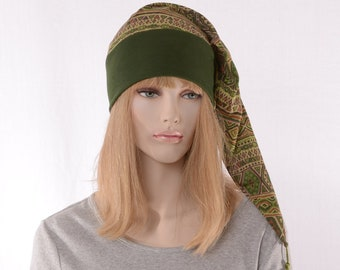 NightCap Green Tribal Print Pointed Hat Cotton Night Cap Elf Hat