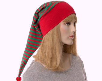 NightCap Red and Green Striped Night Cap with Pompom Cotton Adult Men Women