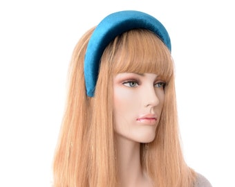 Velvet Padded Headband 2 inch wide Dark Blue Turquoise Womens Headpiece