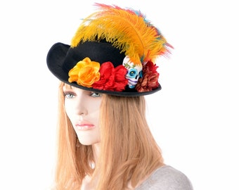 Day of the Dead Fedora Hat with Sugar Skull Handmade Flowers Ostrich Feathers Dia de la Muertes