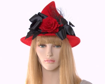 Fancy Witch Hat Red Pointed Wool Felt Short Point Red Rose Flowers Black Satin Ribbon