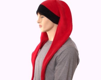 Jester Hat Extra Long Red Black Two Point Cap Fleece Black Pompom Tails