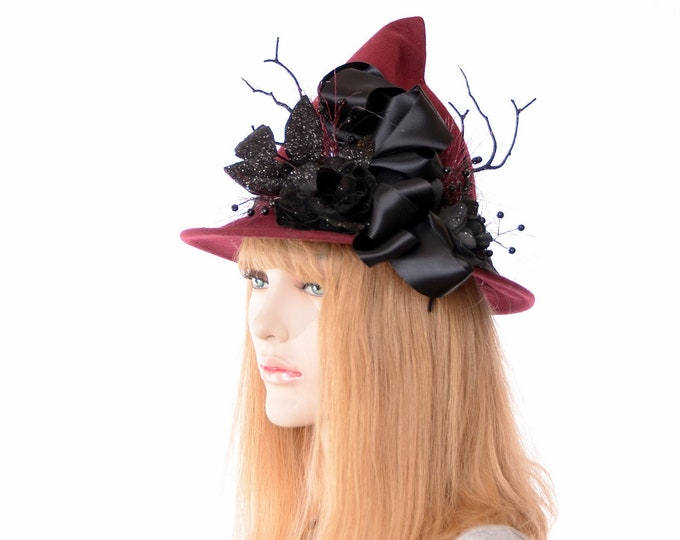 Featured listing image: Witch Hat Burgundy Pointed Wool Felt Short Point Black Flowers Glitter and Ribbon Bow Brimmed
