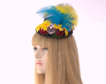 Day of the Dead Hat Victorian Mini Hat Fascinator with Skull Flowers and Feathers