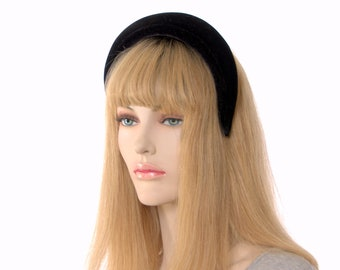 Velvet Padded Headband 2 Inch Wide Black Womens Headpiece