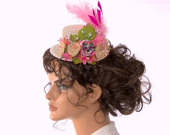 Day of the Dead Hat Pastel Goth Mini Hat Fascinator with Sugar Skull Flowers and Feathers