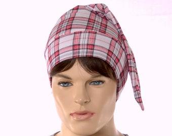 Plaid Night Cap Sleep Hat White Red Black Pointed Cotton Adult Unisex Men Women Nightcap