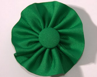 Green Cockade Ribbon Hat Trim Brooch Irish Rosette