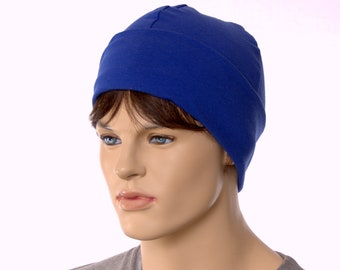 Cotton Beanie Artisan Liner Unisex Adult Men Women Royal Navy Blue