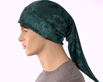 Christmas Elf Cap Green Panne Velvet Long Pointed Hat Unisex Adult Men Women
