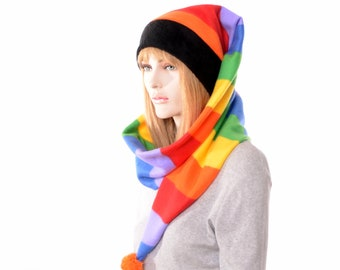 Rainbow Stripe Cap Long Wrap Around Scarf Hat Fleece With Pompom Stocking Cap