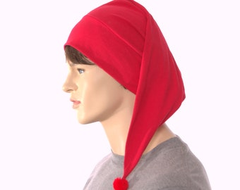 Red Nightcap Cotton Union Suit Night Cap Sleep Hat Pompom Holiday Pajamas Hat