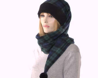 Plaid Long Stocking Cap Wrap Around Scarf Hat With Black Sherpa Headband and Pompom Blue Black Green