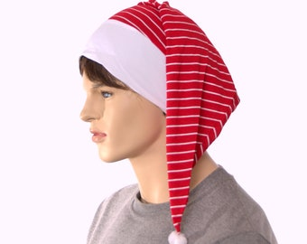 Sleep Hat Red with White Stripe Night Cap with Pompom Unisex Adult Men Women