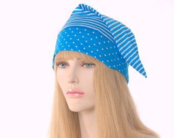 Nightcap Blue and White Stripes and Polka Dots Short Pointed Night Cap