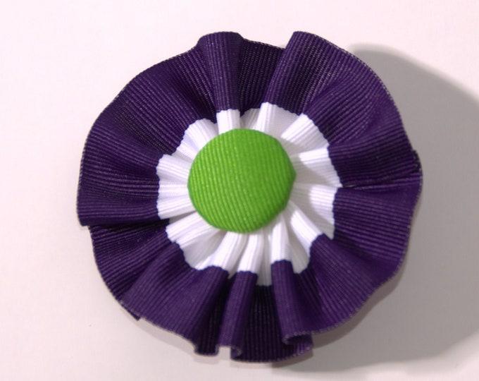 Featured listing image: Suffragette U.K. Cockade Ribbon Hat Trim Brooch Suffrage Rosette Purple White Green