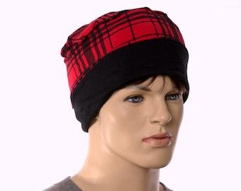 Nightcap Red Black Plaid Cotton Cuffed Night Cap Adult Men Women Holiday Christmas