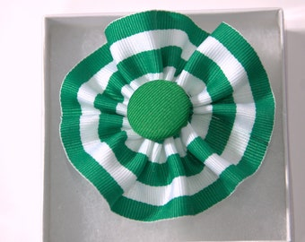 Green White Striped Cockade Ribbon Hat Trim Brooch Irish Rosette