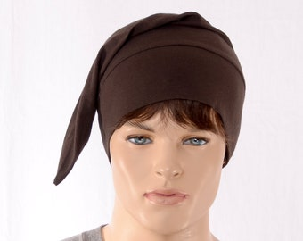 Nightcap Dark Brown Cotton Pointed Elf Night Cap