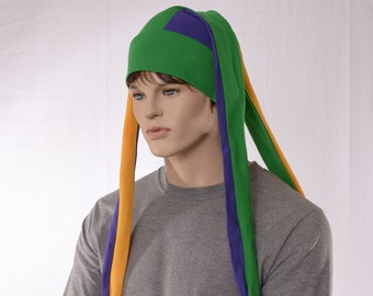 Mardi Gras Jester Hat Three Pointed Cap Extra Long Purple Gold Green Bells Adult Man Woman Jersey Beanie Harlequin