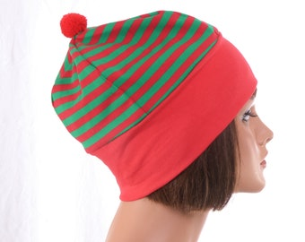 Christmas Beanie Nightcap Red Green Stripes with Red Headband and Pompom Cotton