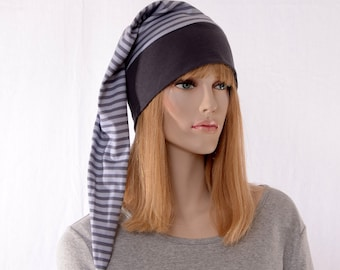 Gray Nightcap Elf Cap  Stripes Night Cap with Pompom Cotton Adult Men Women