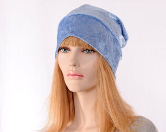 Slouchy Beanie Light Blue Crushed Panne Velvet Ladies Slouchy Boho Chemo Cap