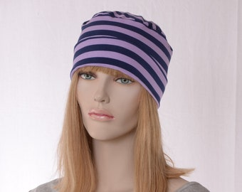 Nightcap Purple Navy Stripe Cotton Cuffed Night Cap Adult Men Women Holiday Christmas Chemo Hat