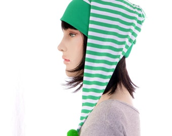 Nightcap Green White Striped Night Cap with Pompom Christmas Holiday Yule Cotton Adult Men Women