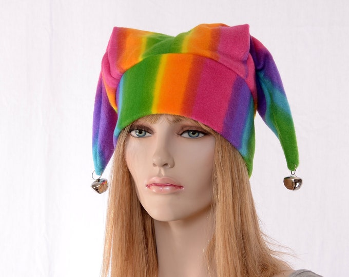 Featured listing image: Jester Hat Striped Three Point Harlequin Cap with Bells Fleece Mardi Gras Carnival Fleece