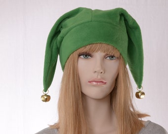 Jester Hat Bright Green Three Pointed Joker Halloween Costume Hat with Bells