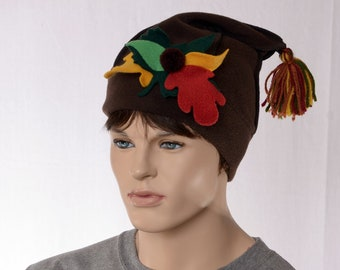 Elf Hat Brown Autumn Leaves Pointed Beanie Cap Brown Dwarfs Cap Brownie Fairy Hat Adult Men Women