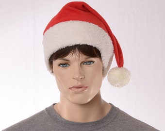Extra Large Pointed Santa Hat with Fluffy Sherpa White Headband and Red Body Big Man