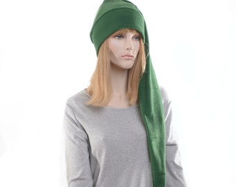 Extra Long Stocking Cap Dark Green PomPom Goth Santa Hat Long Tail Hat Fleece Hygge