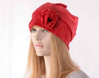 Slouchy Beanie Red Crushed Panne Velvet Ladies Cloche Boho Chemo Cap Handmade Flower