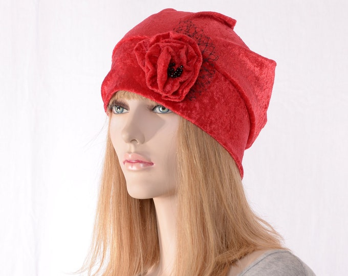 Featured listing image: Slouchy Beanie Red Crushed Panne Velvet Ladies Cloche Boho Chemo Cap Handmade Flower