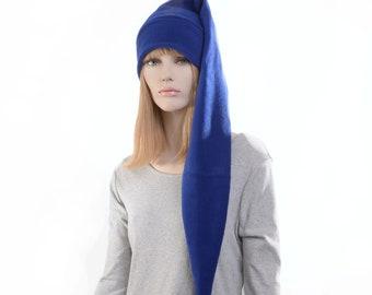 Extra Long Stocking Cap Royal Blue PomPom Goth Santa Hat Long Tail Hat Fleece Hygge
