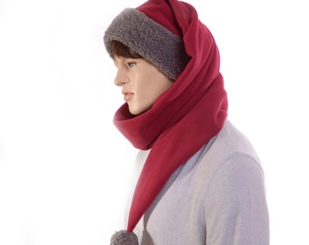 Long Stocking Cap Maroon Gray Scarf Wrap Around Hat Pointed Gray Sherpa Headband Fleece
