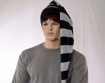 Long Stocking Cap Black Gray Striped Wrap Around Scarf Hat 3 ft Super Coil Gothic Hero Hat Pompom
