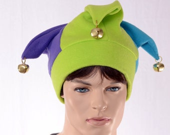 Brilliant Jester Hat Three Pointed Purple Green Blue Halloween Costume Hat with Bells Harlequin Cap