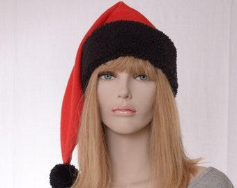 Long Stocking Cap Red Fleece with Black Sherpa Headband Mens Plaid Fuzz Ball Pompom Adult