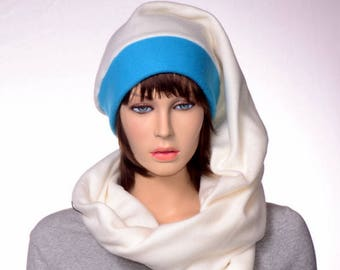 Stocking Cap Long Wrap Around Scarf Hat Brilliant Blue Cream Tail Hat with Pompom Fleece