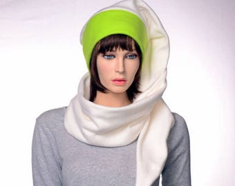 Stocking Cap Extra Long Wrap Around Scarf Hat 5 in Neon Green Cream Tail Hat with Pompom Fleece