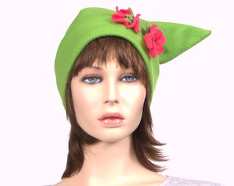 Pixie Hat Green Fairy Elf Beanie Pointed Bright Pink Flowers Made of Fleece Adult Men Women Cosplay