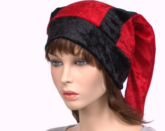 01e88ab9fe5 Black and Red Two Pointed Harlequin Hat Jester Cap Backward Pointed Tails