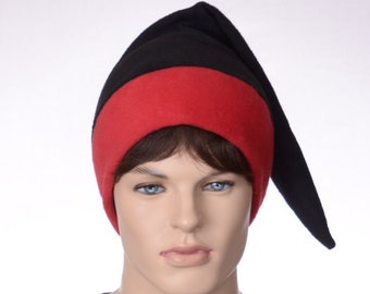 Black Red Elf Cap Toboggan Dwarf Hat Dark Goth Adult Gothic Hat Pointed